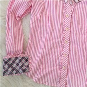 Lilly Pulitzer pink striped button down blouse